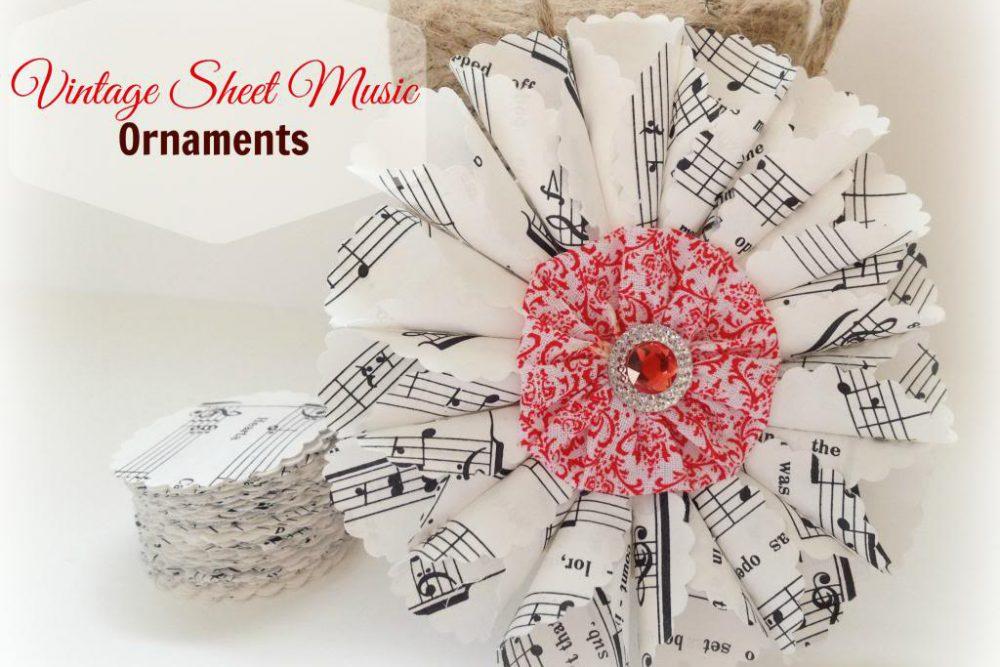 DIY Christmas Ornaments:  Vintage Sheet Music