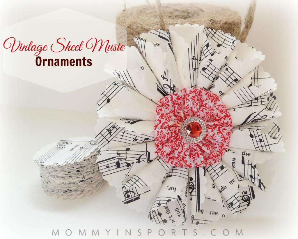 Perfect DIY Christmas Ornaments Vintage Sheet Music YB69