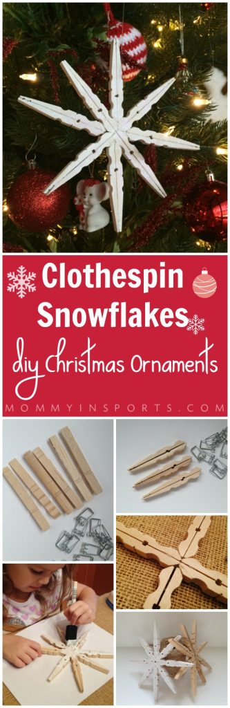 Looking for a cute craft or DIY homemade Christmas gift? Try this Clothepin Snowflake ornaments! So cute and easy to make with your kids!