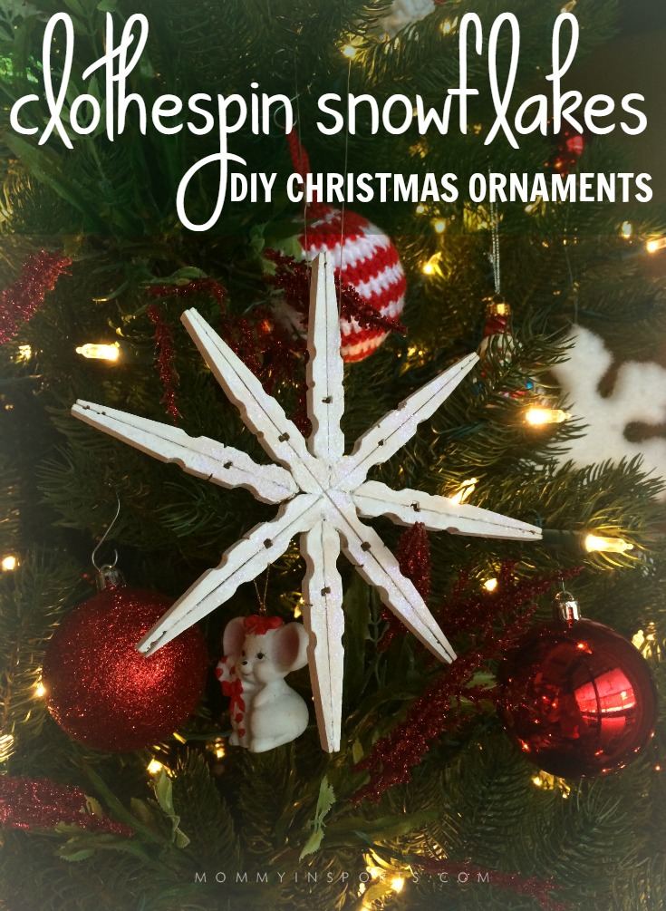 Diy Christmas Ornaments Clothespin Snowflakes Kristen