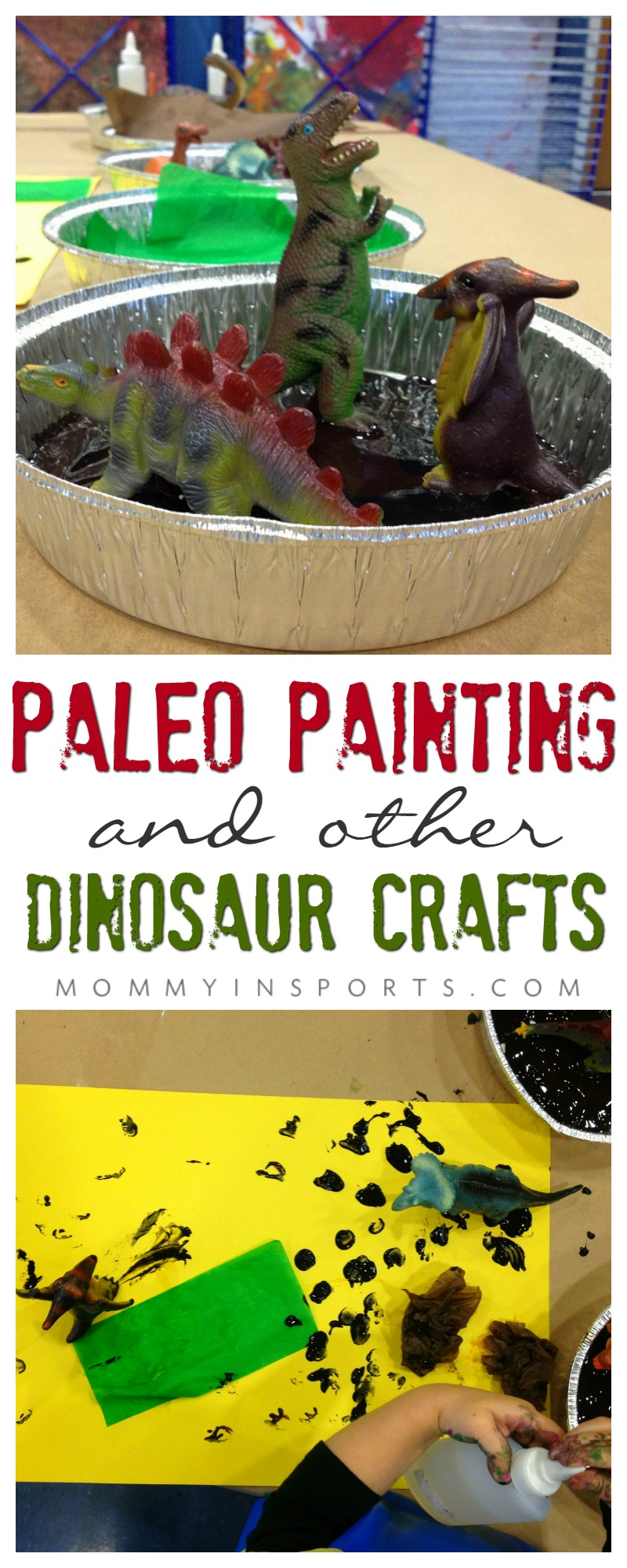 Looking for some dinosaur fun? Try this paleo painting, it's so fun for kids to use other mediums to paint! Also included are the best dinosaur books and sensory bins! The perfect dinosaur crafts for your budding artists!