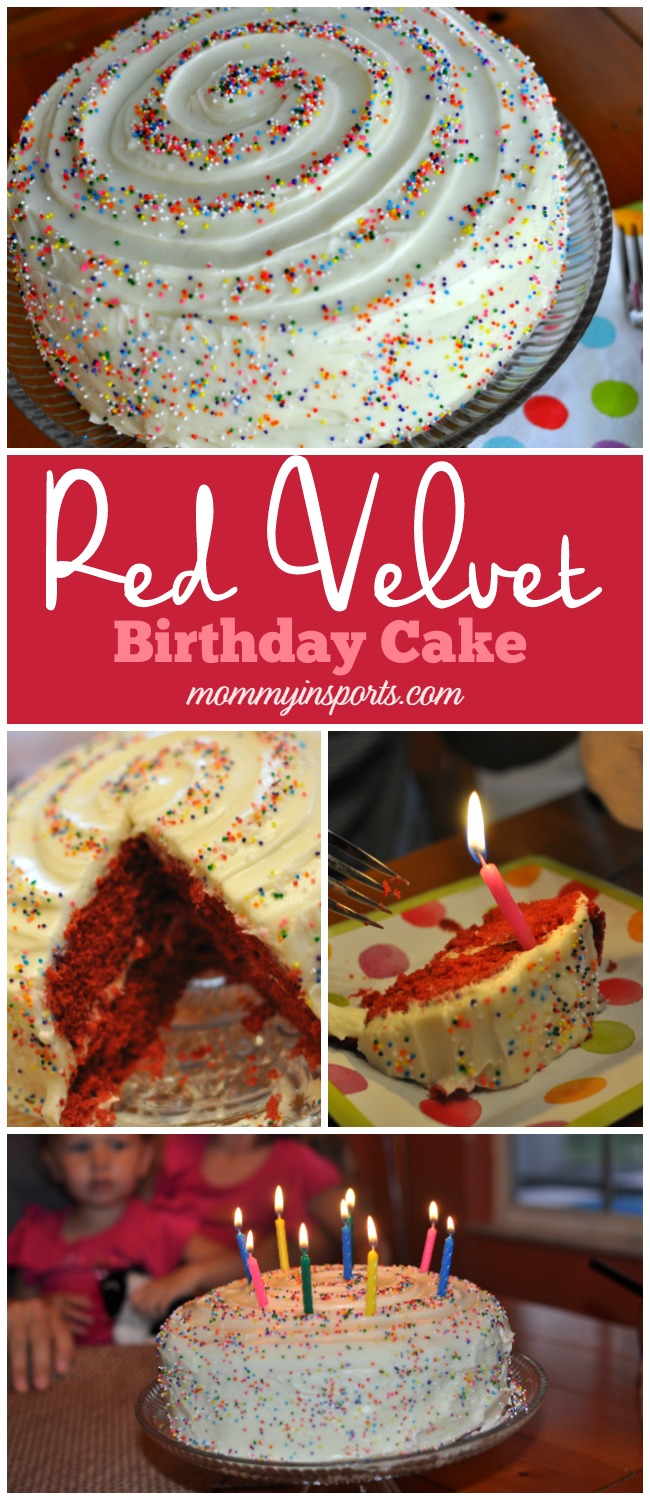 Looking for a simple yet decadent recipe for a red velvet birthday cake? Try this! So much easier than I thought and the swirl and sprinkles add a festive touch!