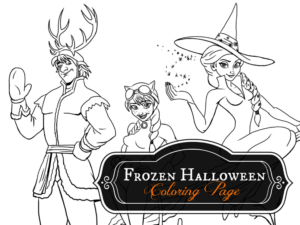 Frozen Halloween Coloring Page - mommy in SPORTS