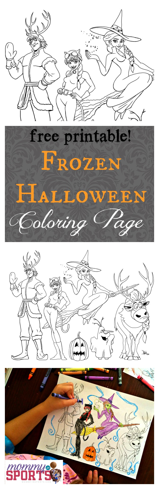 frozen halloween coloring page mommy in sports. Black Bedroom Furniture Sets. Home Design Ideas