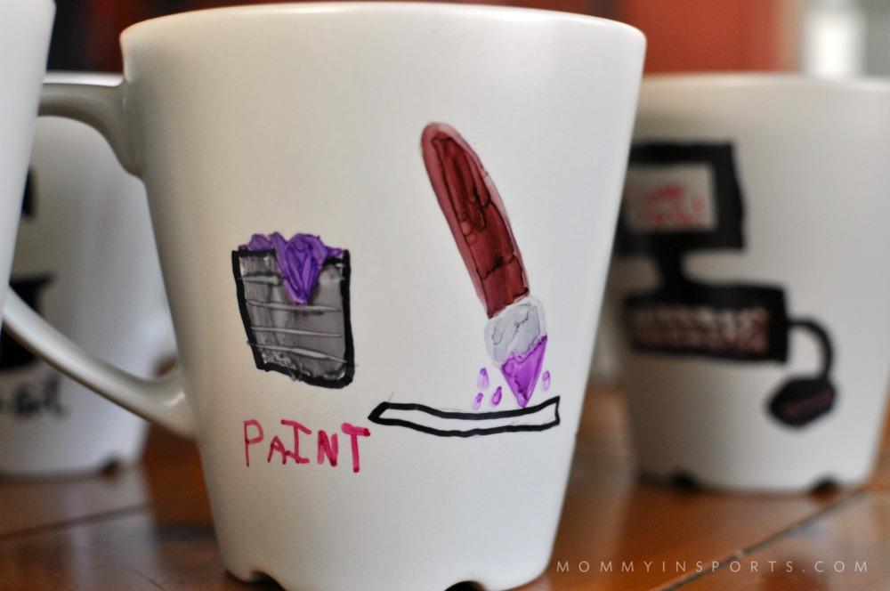 DIY Sharpie Mug Kids Close Up