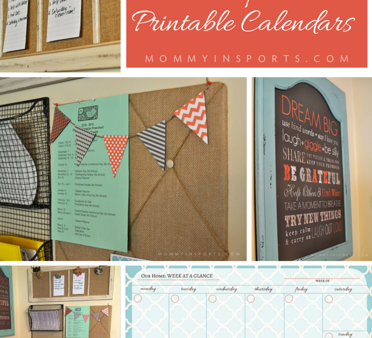 DIY Home Wall Organizer with Printable Calendars
