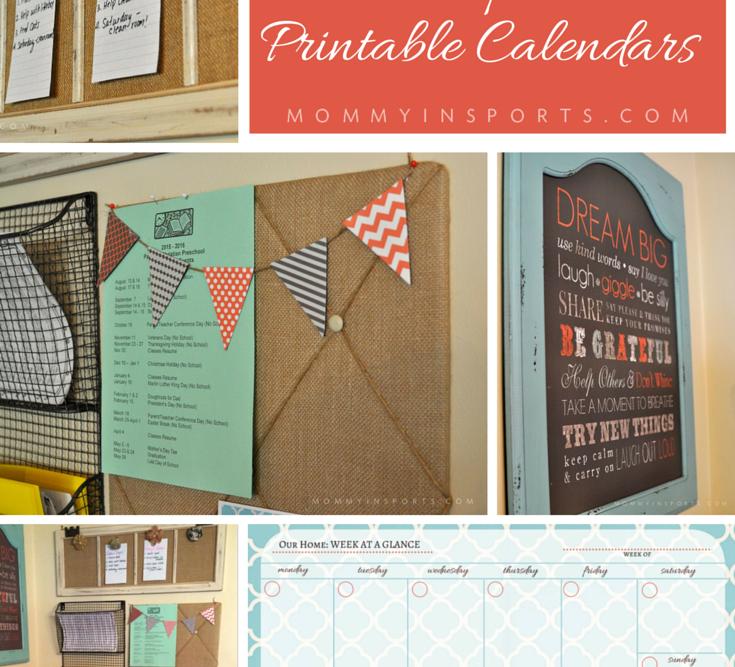 DIY Home Wall Organizer with Printable Calendars