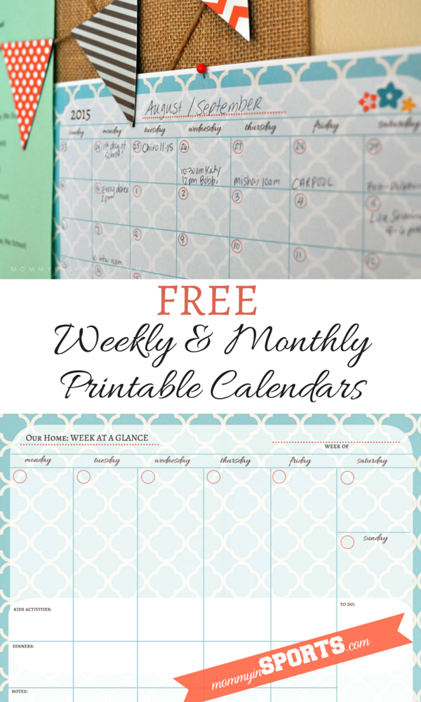 FREE Weekly & Monthly Printable Calendars
