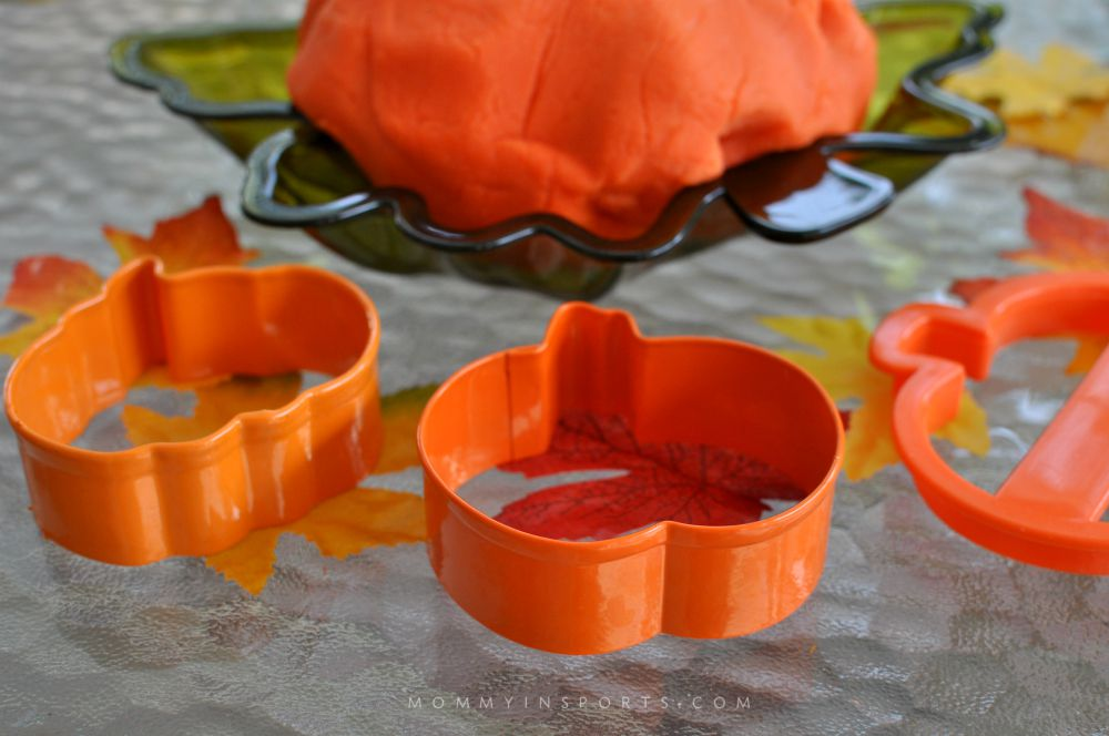 Pumpkin cookie cutters are great to break out with your pumpkin playdough!