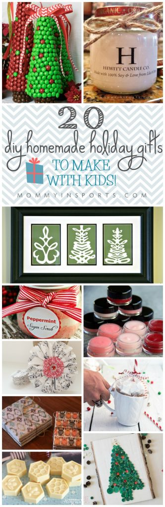 Need a homemade gift but not sure where to start? Try thse 20 DIY HOMEMADE HOLIDAY GIFTS TO MAKE WITH KIDS!