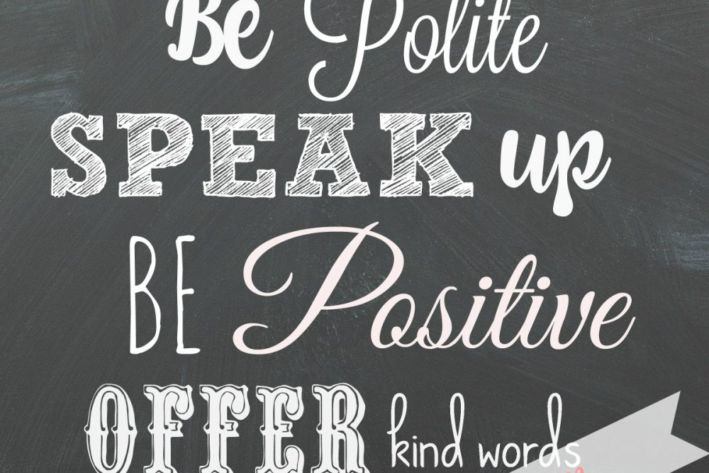 Inspiring Kindness & Gratitude + Chalkboard Manners FREE Printable