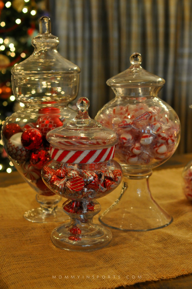Apothecary Jars are perfect to create a fun, festive and whimsical DIY holiday centerpiece!