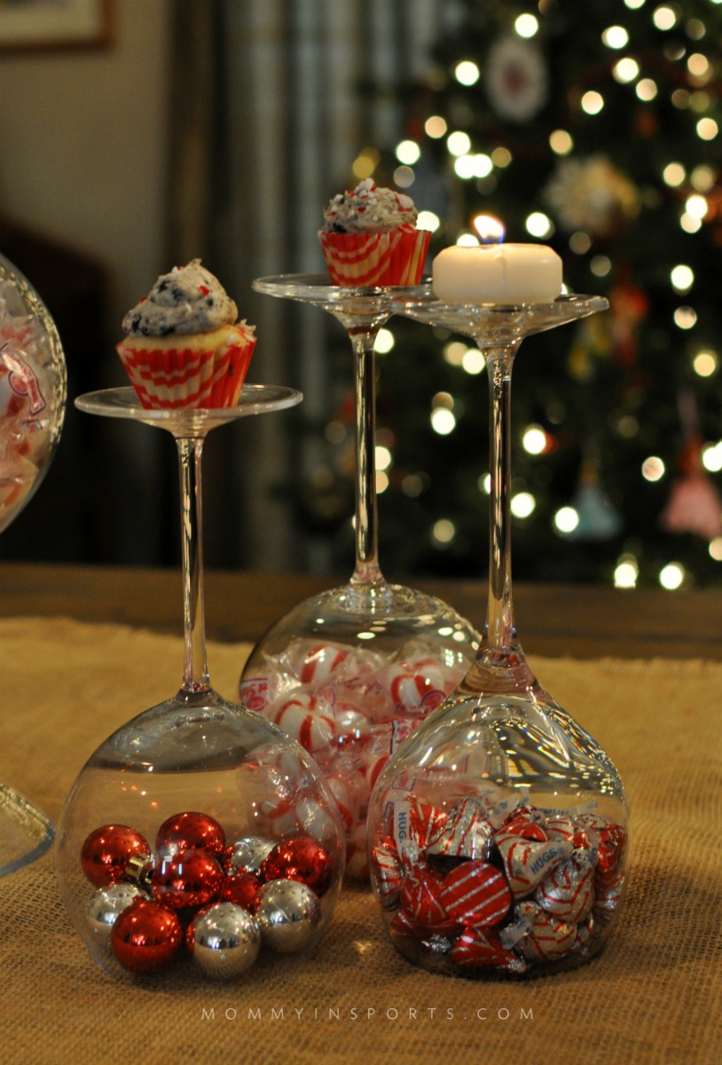 dont buy new christmas decorations use your wine glasses as an elegant and - Diy Christmas Centerpieces