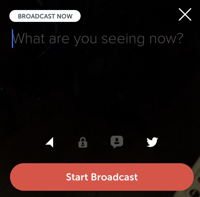 Periscope broadcast screen