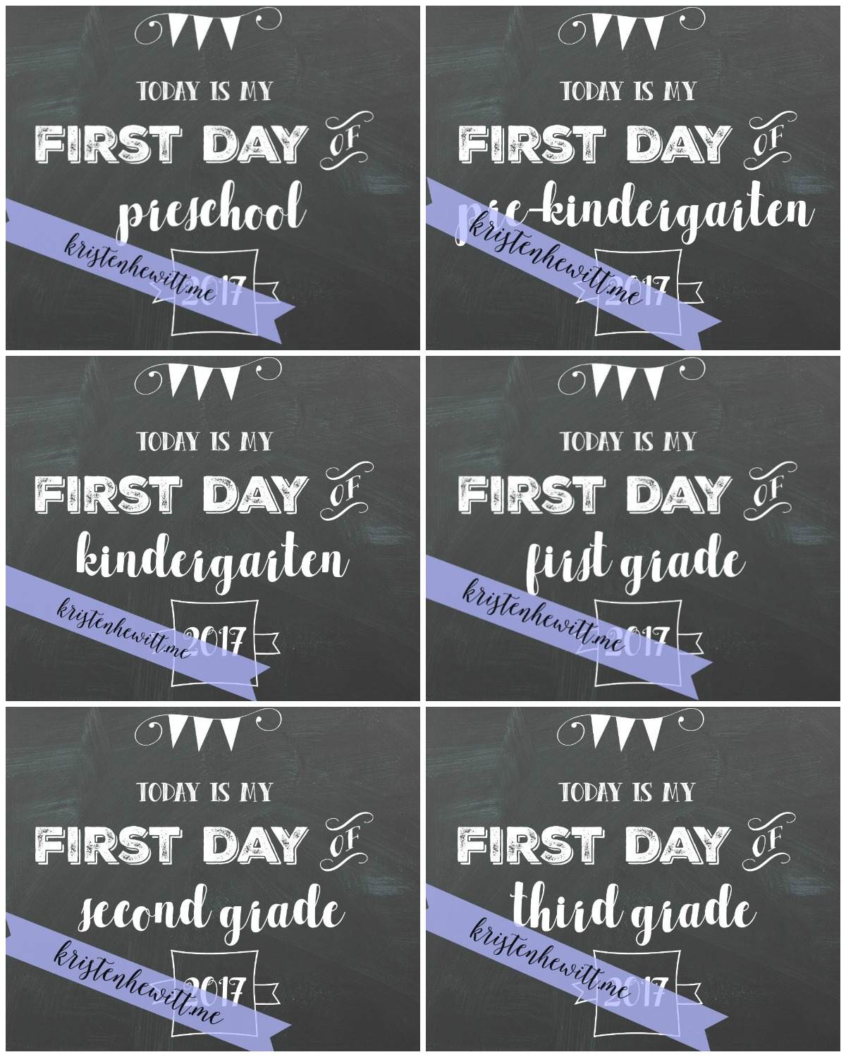 photo about Free Chalkboard Printable named Free of charge Chalkboard To start with Working day of Higher education Printables - Kristen Hewitt