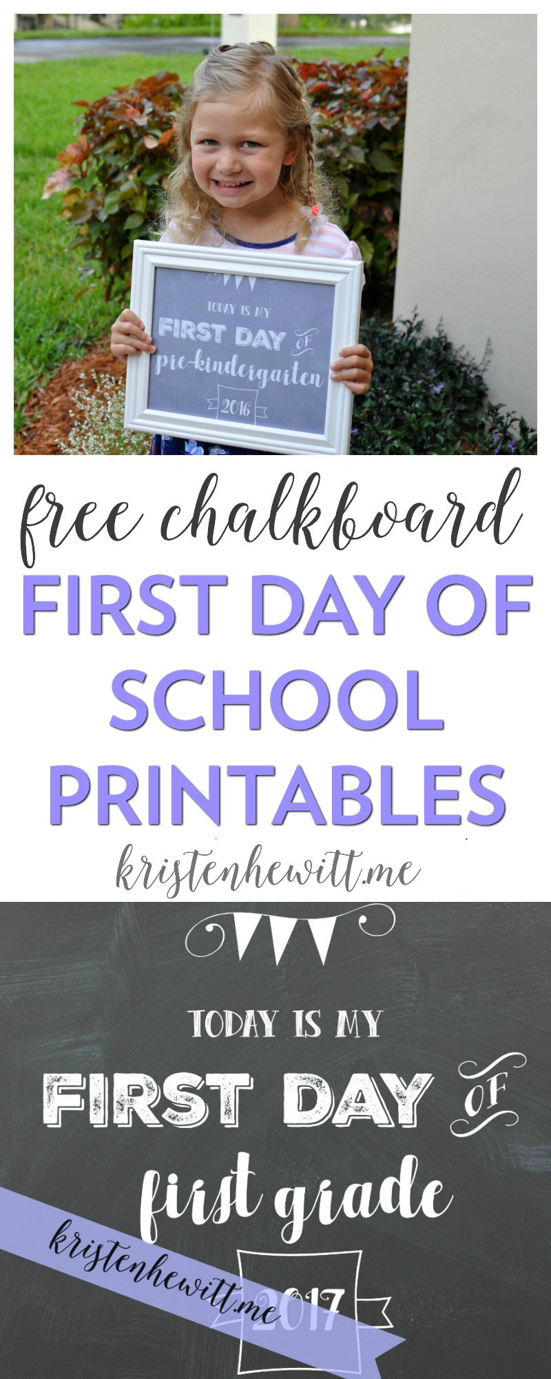 Looking for the perfect way to commemorate the first day of school? Print out one of these free chalkboard first day of school printables!