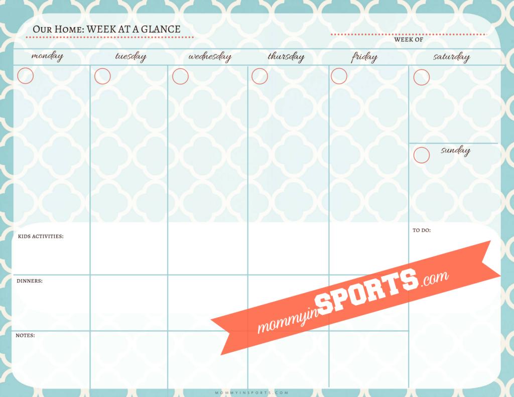Weekly Printable Calendar Template