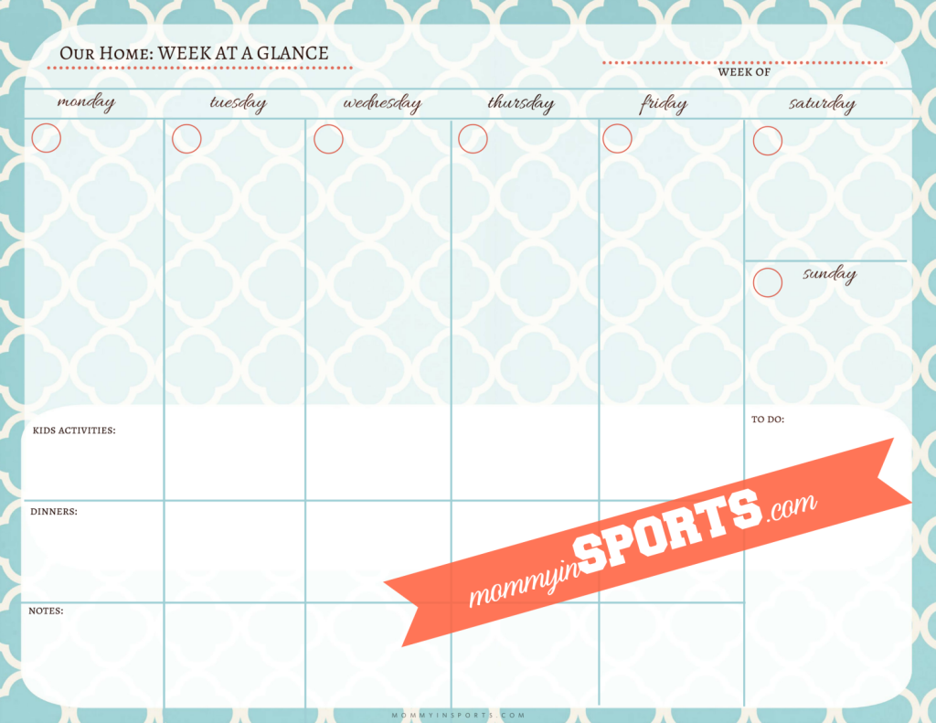 Weekly Printable Calendar Template