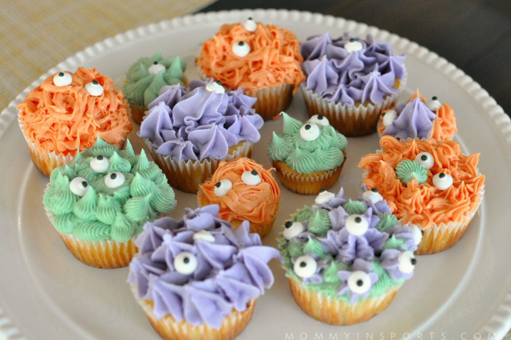Natural Food Dye Monster Cupcakes