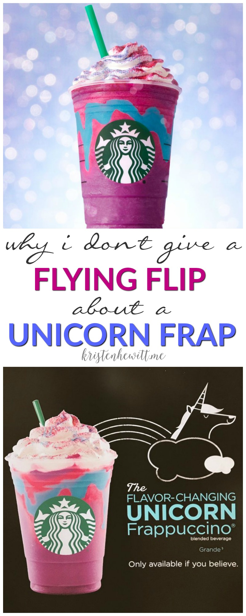 Do you buy into the Starbucks hype about the new Unicorn Frappucino? I don't. Read why I don't give a flying flip about the Unicorn Frap!