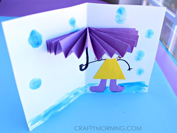 3d Umbrella Spring Craft Card For Kids Kristen Hewitt
