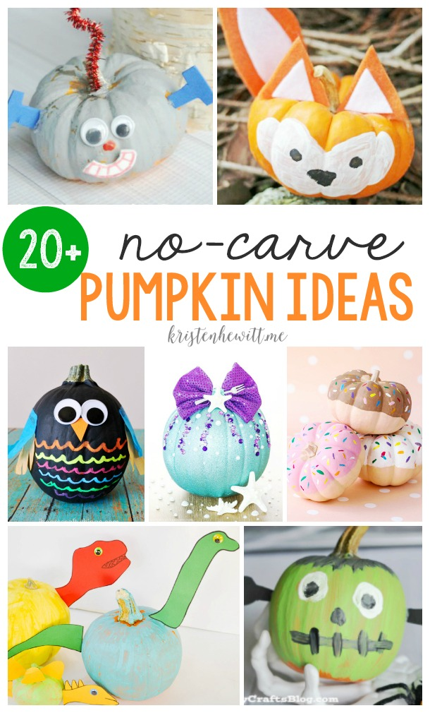 Looking for a safe Halloween pumpkin craft for your kids? Check out these 20+ No-Carve Pumpkin Ideas!