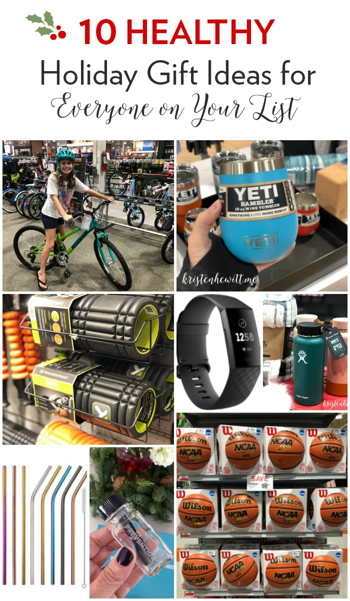 The holidays are here and shopping can be tough. Here are 10 healthy gift ideas that will work for everyone on your list!